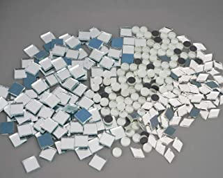Lanyani Square Round Diamond Mixed Shapes Glass Mirror Tiles,Mirror Pieces Mosaics Tile for DIY and Art Crafts - 10oz Value Pack