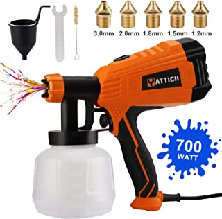 YATTICH Paint Sprayer, 700W High Power HVLP Spray Gun, 5 Copper Nozzles & 3 Patterns, Easy to Clean, for Furniture, Cabine...