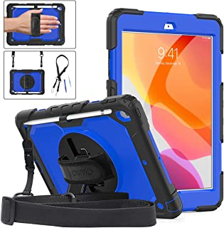 DUNNO New iPad 10.2 Case 2019 - Heavy Duty Protective Case with 360° Rotating Kickstand & Built-in Screen Protector Shockproof Design for iPad 7th Gen 10.2 Inch 2019 (Black/Blue)