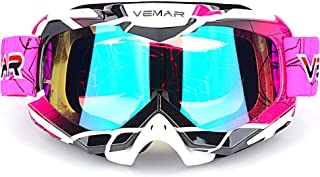 Polarized Sport Motorcycle Motocross Goggles ATV Racing Goggles Dirt Bike Tactical Riding Motorbike Goggle Glasses, Bendable Windproof Dustproof Scratch Resistant Protective Safety Glasses (Pink)