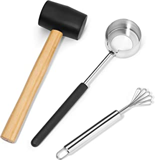 Coconut Opener Set for Young & Mature Coconuts by CoCoMaster |Coconut Tools for Meat Removal with Hammer & Stainless Steel Knife |Premium Utensil,Easy to Use and Comfortable,Super Safe For Your Hands