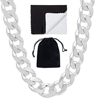 High-Polished .925 Sterling Silver (Nickel Free) Flat Cuban Link Curb Chain Necklace or Bracelet, 7'-40'