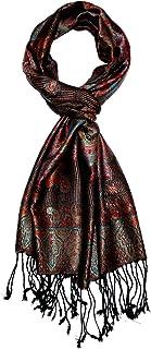 Lorenzo Cana - Luxus Seidenschal Herren Schal 100% Seide jacquard gewebt harmonische Farben mit Fransen 35 x 160 cm Paisley Muster Seidentuch