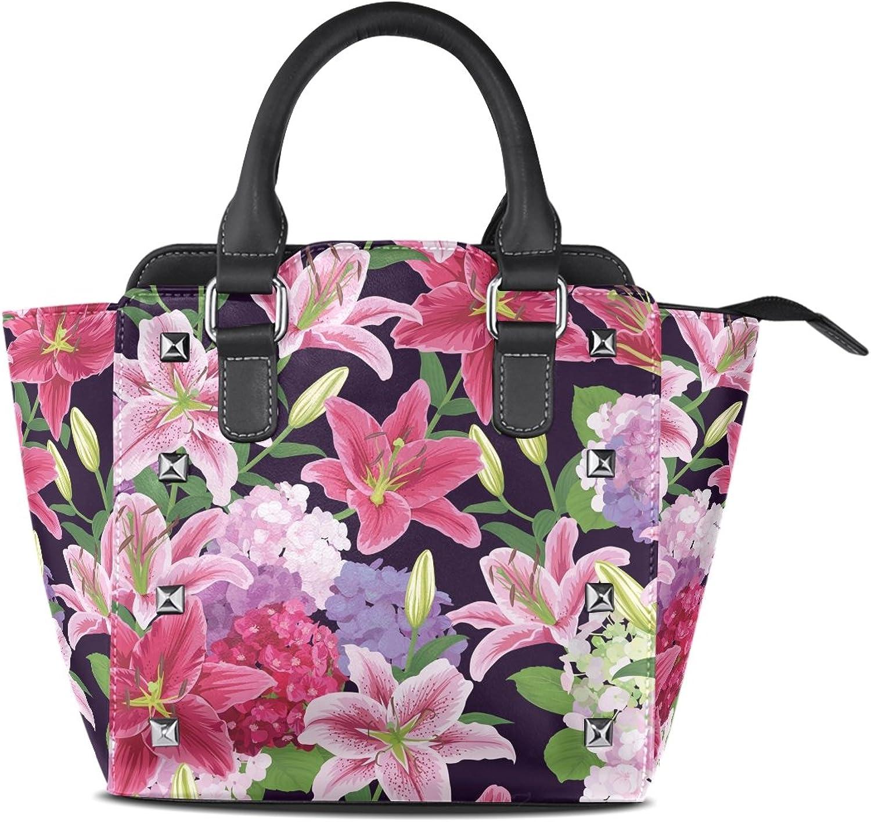 My Little Nest Women's Top Handle Satchel Handbag Beautiful Lilies Flower Ladies PU Leather Shoulder Bag Crossbody Bag