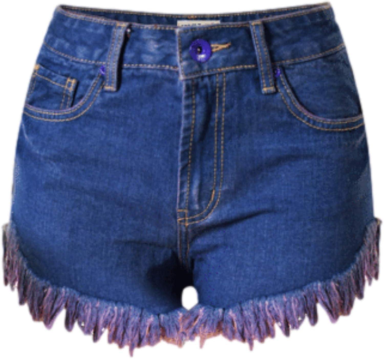 Women's Summer High Waisted Ripped Holes Denim Shorts Fashion Irregular Raw