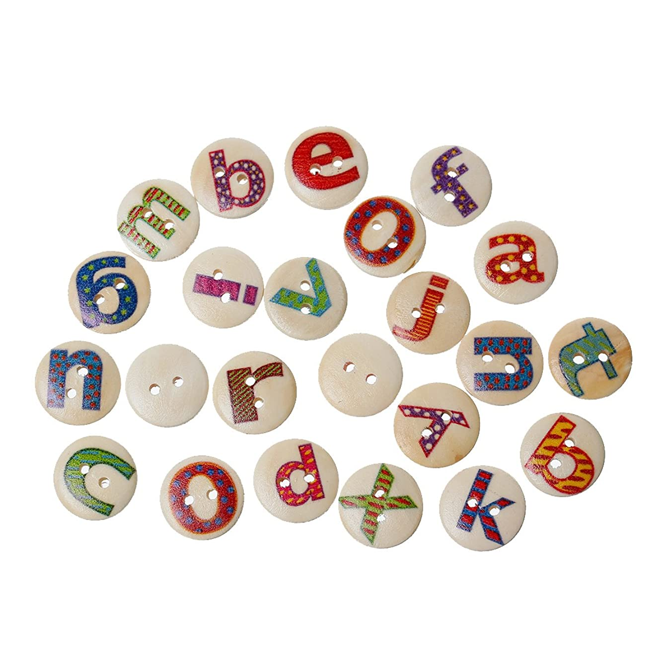 PEPPERLONELY Brand 100PC Alphabet Letters 2 Hole Scrapbooking Wood Sewing Buttons 15mm(5/8 Inch)