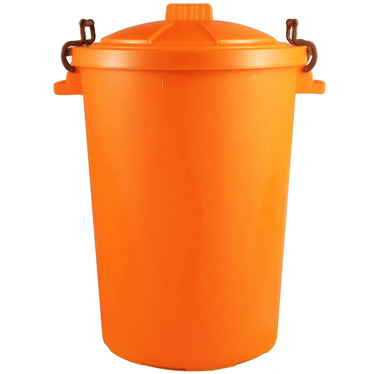 85 litros 85L Extra grande color plástico cubo de la basura papelera de jardín Clip de bloqueo tapa resistente para basura reciclaje de la basura alimentación Animal de almacenamiento unidad: Amazon.es: Hogar
