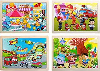 Wooden Puzzle for Children Aged 3-6, [40] Puzzle Educational Learning Toys Suitable for Toddlers, Jigsaw Puzzle Children Wooden Puzzle Toddler Children Toys Boys and Girls (4 Puzzles)