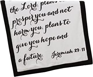 Scripture Throw Blanket for Baby or Children | Jeremiah 29:11 | Best Boy or Girl Shower or Birthday Gift | Ivory Fleece on Dark Brown Sherpa