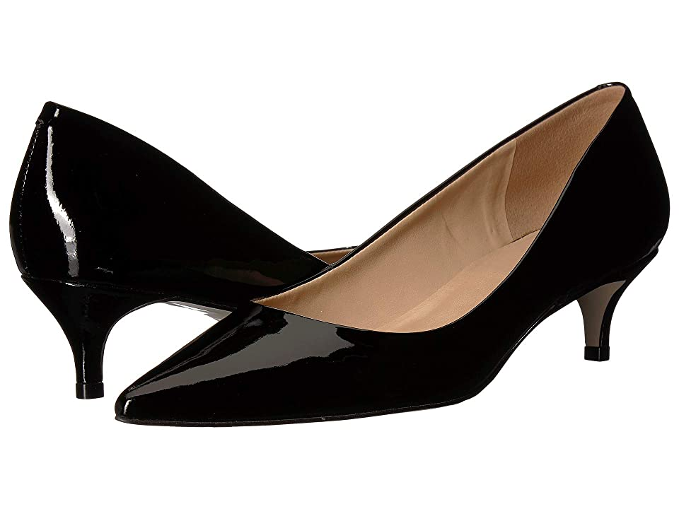 Pin Up Shoes- Heels, Pumps & Flats Massimo Matteo Pointy Toe Kitten Heel Black Patent Womens 1-2 inch heel Shoes $95.00 AT vintagedancer.com