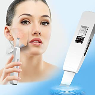 Facial Skin Scrubber, BINZIM Blackhead Acne Dead Skin Remover 3 Modes Comedones Extractor Peeling Tool USB Rechargeable Skin Massage Scrubber Spatula for Deep Clean Exfoliation and Anti-Aging