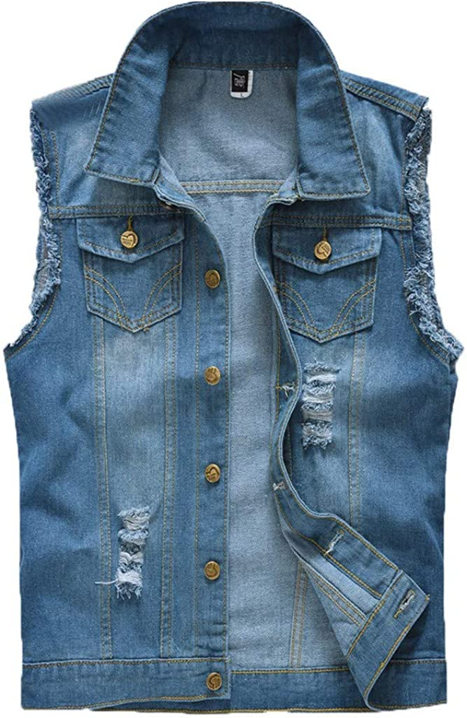 MODOQO Men's Jacket Vest Sleeveless Slim Fit Button Down Lightweight Outwear Coat