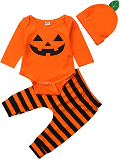 Infant Boy Girl 3 PCS Halloween Clothing Set Pumpkin Print Long Sleeve Snap Closure Romper+Striped Long Pants+Hat 0-18M