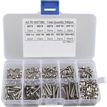 Button Head M3 Black Alloy Steel Hex Socket Screws Bolt with Hex Nuts Assortment 250pcs Screws Nuts