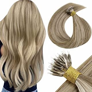 """LaaVoo Nano Hair Extensions Remy Human Hair 22"""" Nano Beads Extensions Color Light Brown with Golden Blonde Brazilian Remy Nano Ring Human Hair Extensions 1g/strand 50g"""