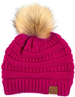 ScarvesMe Soft Stretch Cable Knit Ribbed Faux Fur Pom Pom Beanie Hat