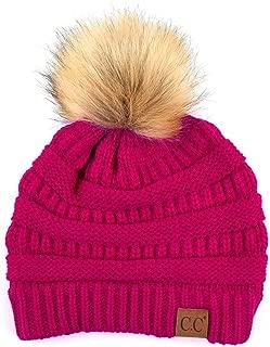 ScarvesMe Soft Stretch Cable Knit Ribbed Faux Fur Pom Pom Beanie Hat