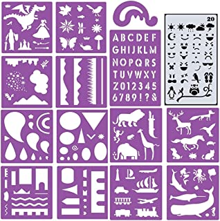 ZtuoYong 15 Sheets Plastic Painting Stencils Set for Kids, Colorful DIY Drawing Templates for Children Over 170 Patterns