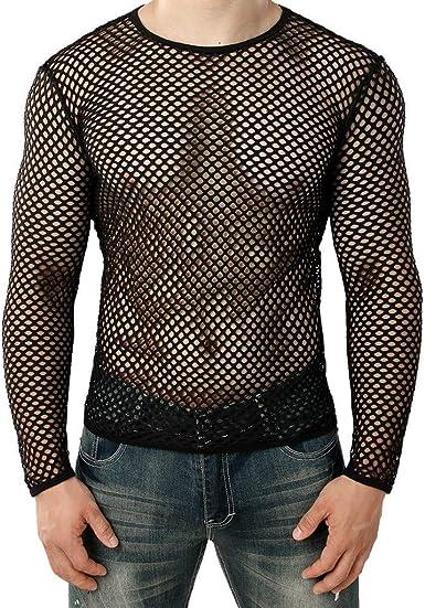 Berimaterry Camisetas Hombre Camisa de Malla de Manga Corta ...