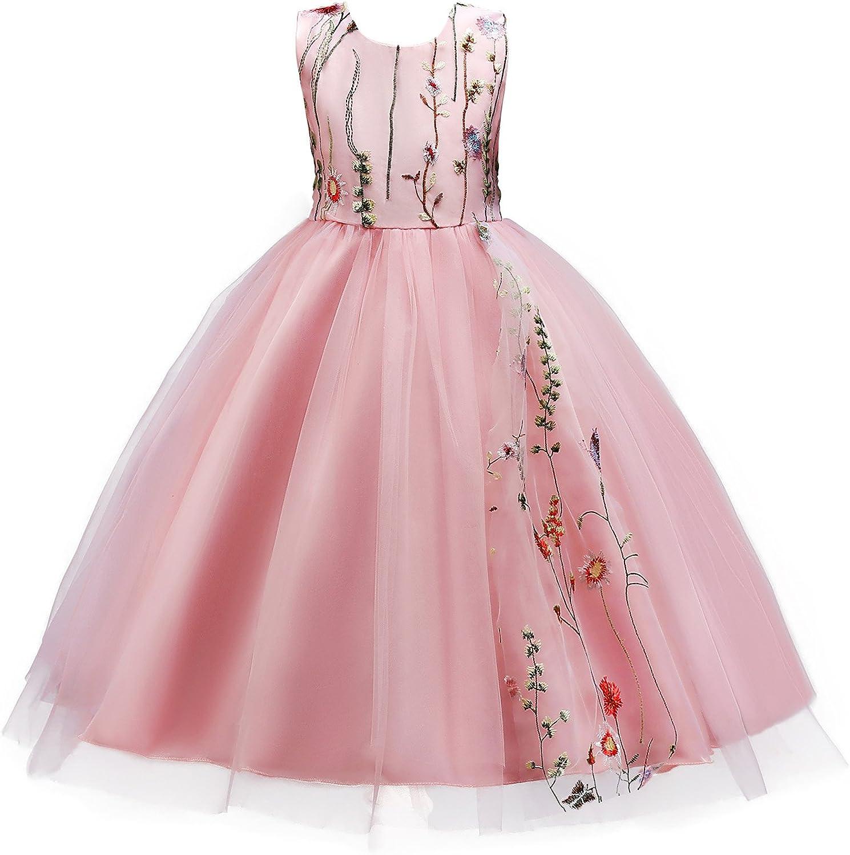 JerrisApparel Little Big Girls Flowers Embroidery Sleeveless Wedding Party Dress