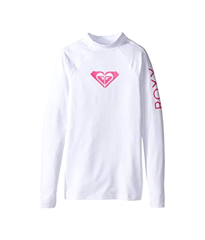 Roxy Kids Whole Hearted Long Sleeve Rashguard (Big Kids) (White 2) Girl