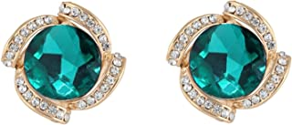 Crunchy Fashion Bollywood Style Party Wear Green Crystal Indian Jewelry Stud Earrings for Women