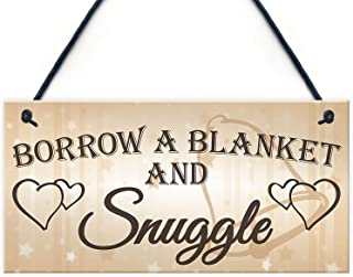 Shabby & Chic Wedding Blanket Snuggle Present Custom Wood Signs Design Hanging Gift Decor for Home Coffee House Bar 5 x 10 Inch