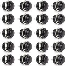 Clyxgs SPST Mini Push Button Switch AC250V/3A AC125V/6A With no lock Momentary Push Button Switch Black Cap 20-Pack