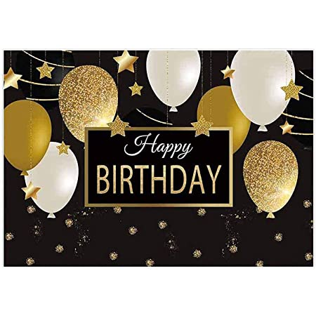 LYLYCTY 7x5ft Birthday Backdrop Black Gold Balloons Golden Glitter Sparkling Stars Men Women Bday Party Background Photo Studio Booth Kids Cake Table Banner LYWQ019