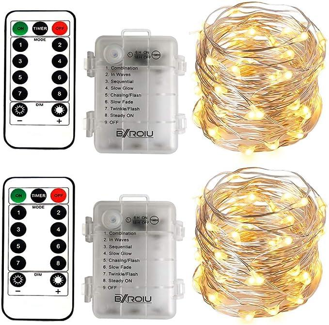 4324 opinioni per BXROIU 2 X 50LEDs Catena Luminosa a Batteria Stringa Luci 5 metri Argento Filo