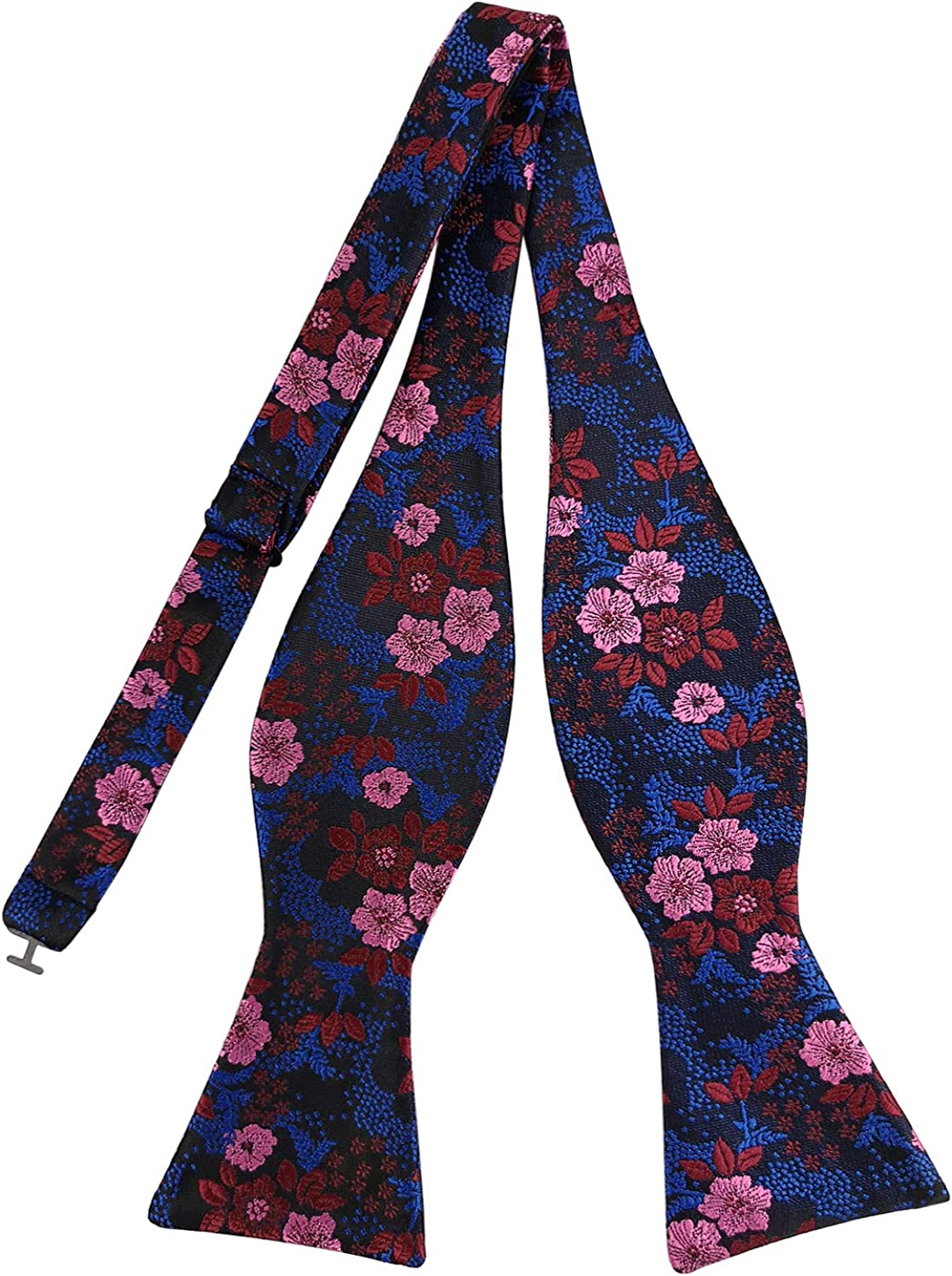 PenSee Mens Self Bow Tie Modern Floral Woven Silk Bow Ties