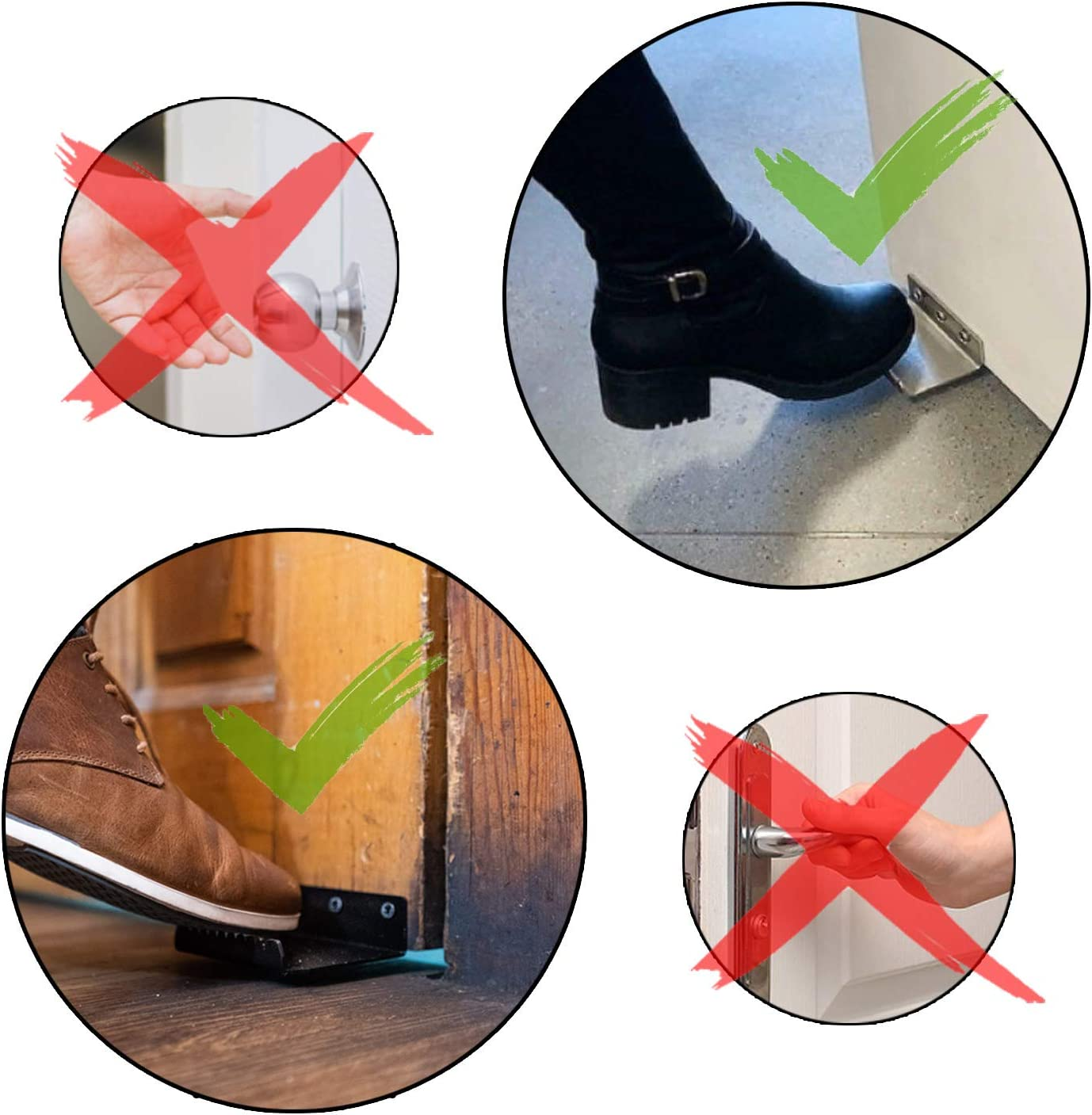 Koor Hands Free Foot Operated Door Opener Suitable for Bathroom Doors and Drawers 2 Pack Comes with Free Door Sticker Sign Easy to Install Black Sturdy and Durable