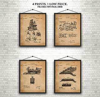 Train Locomotive - Patent Prints - Set of 4 Prints - Great gift for Train, Railroad, Locomotive Enthusiasts -A Unique- Custom Gift