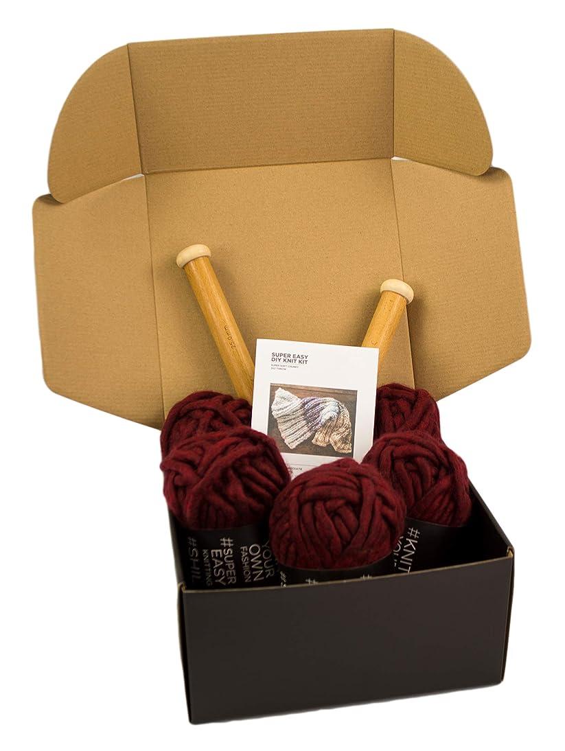 Chunky Knit Blanket DIY Kit, Super Soft Thick Yarn, Large Wood Knitting Needles US 50 (Burgundy)