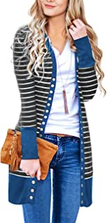 Women's Long Sleeve Snap Button Down Solid Color Knit...