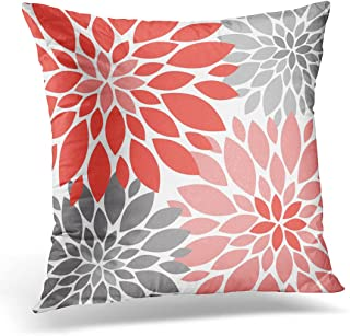 VANMI Throw Pillow Cover White Flowers Coral and Gray Chrysanthemums Floral Blue Blossoms Decorative Pillow Case Home Decor Square 18x18 Inches Pillowcase