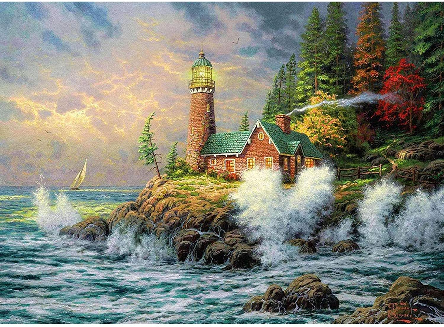 Puzzle House Wooden Jigsaw Puzzle, Lighthouse Storm Cottage, 520 1000 1500 Pieces Puzzles Game for Adults & Kids 401 ( Size   500pc )