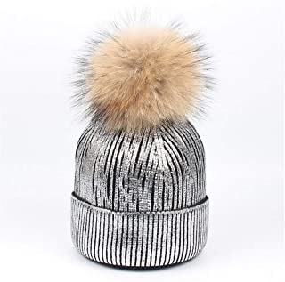 Hat Fashion Wool Warm Hat Sequin Hairball Womens Winter Knitting Daily Slouchy Hats Fashion Accessories (Color : Silver)