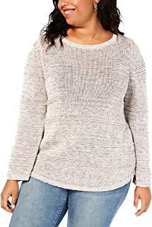 Style & Co. Womens Plus Knit Open Stitch Pullover Sweater