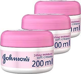 Johnson's Body Cream 24 Hours Moisture Soft, 3 X 200 ml - Pack of 1