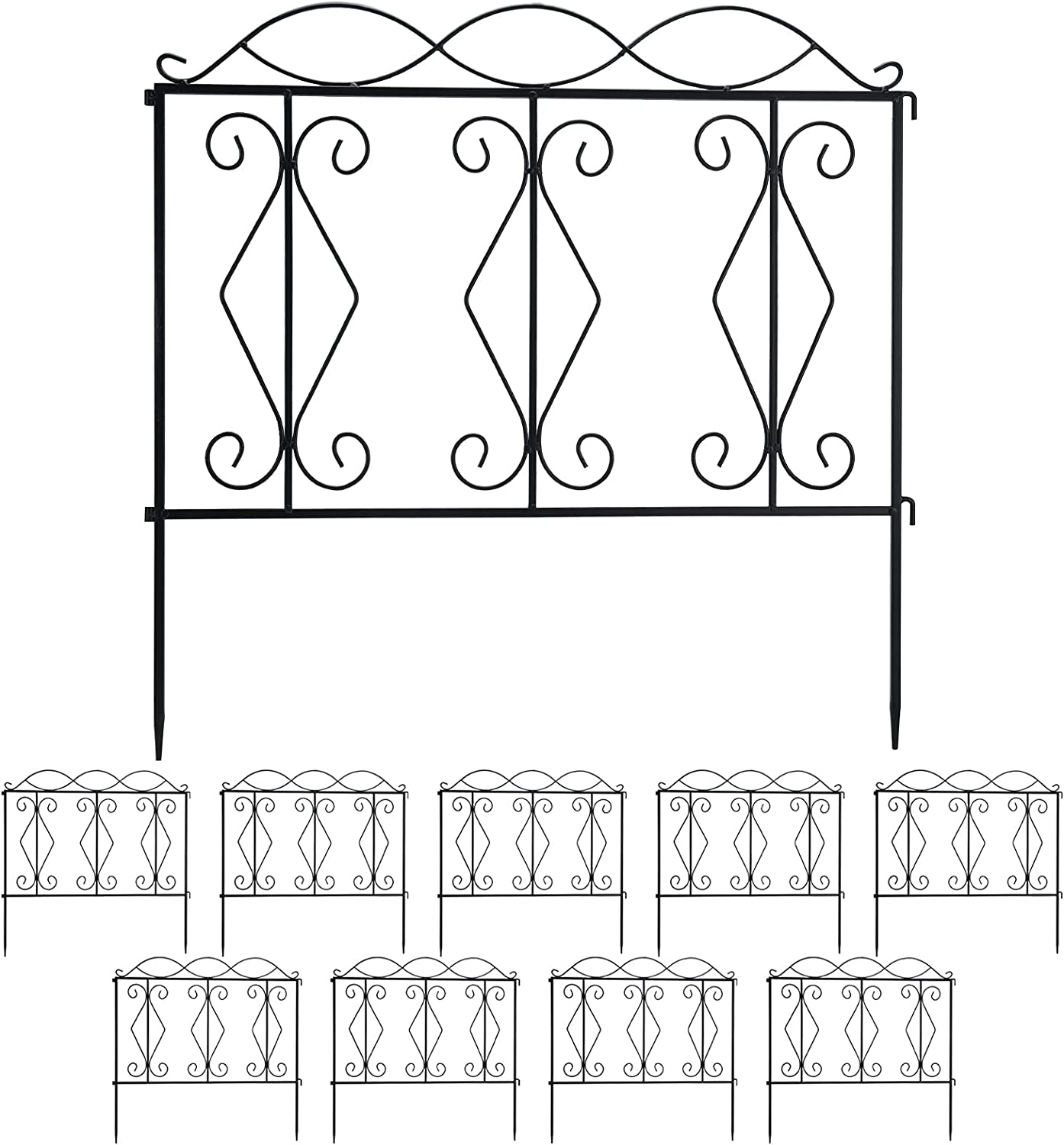 Finderomend 10 Pack Garden Fence Rustproof Metal Wire Fencing Decorative Garden Fencing for Landscape Patio, Pets, Barrier Gate Outdoor Black (24inch x 24inch,20FT Total) (style2)