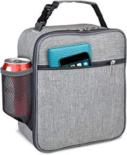 Insulated Lunch Box,Reusable Cooler Lunch Bag for Men Women Kids,Leakproof Thermal Lunch Tote Bag,Durable & Spacious Lunchbox with Multi-Pockets&Detachable Buckle Handle for Outdoor Work School,Gray