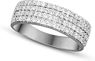 Lab Grown 1/2 ct to 5/8 ct Pave Diamond Ring For Women 10KT & 14KT White Gold Lab Created Diamond Engagement Rings 100% Pure Diamond Ring