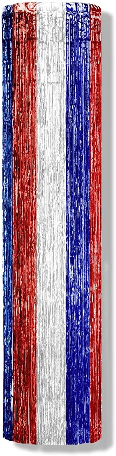 Club Pack of 6 Red, White and bluee Gleam 'N Column Hanging Party Decoration 8'