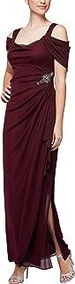 Alex Evenings Women's Long Cold Shoulder Dress (Regular and Petite Sizes)