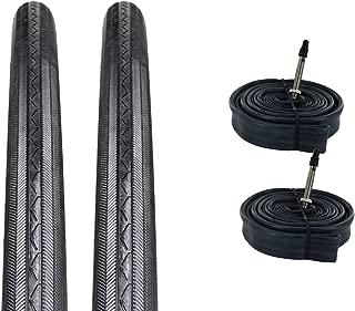 ZOL Bundle 2 Pack Z1076 Road Tires and Tube 700x25C, Presta/French 48 MM Valve