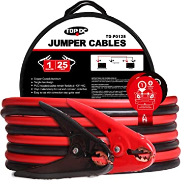 TOPDC Jumper Cables 1-Gauge 25-FT -40℉ to 167℉ 700Amp Heavy Duty Booster Cables with Carry Bag (1AWG x 25'): image