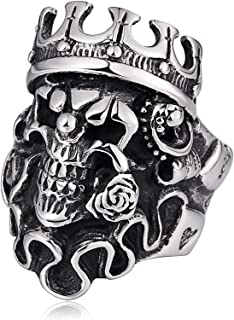 Stainless Steel Ring for Men Crown Skull Ring Vintage Gothic Biker Punk Rock Ring