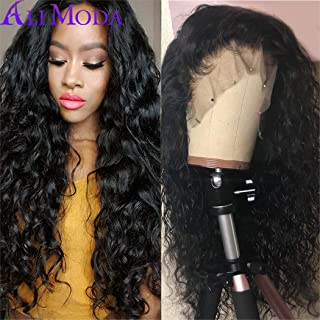 Ali Moda 10A Pre-Plucked Water Wave Lace Front Wigs 180% Density Virgin Brazilian Water Wave Human Hair Lace Frontal Wigs With Baby Hair 12 inch