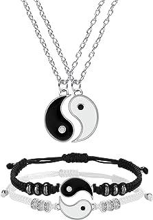 Hicarer Yin Yang Friend or Couple Bracelet with Necklace Set, 2 Pieces Matching Yin Yang Adjustable Cord Bracelet, 2 Piece...